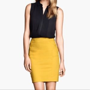 H&M Mustard Yellow Pencil Skirt